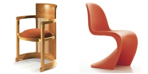 izq. Barrel chair, Frank Lloyd Wright, 1937 y decha. Panton chair, Verner Panton, 1999.